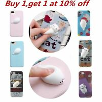 Squishy 3D Soft Silicone Cat Seal TPU Phone Case Cute Cover for iPhone X 8 Plus