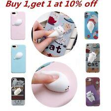Squishy 3D Soft Silicone Cat Seal TPU Phone Case Cute Cover for iPhone X 8 Plus