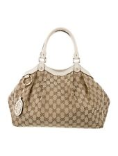 Gucci SUKEY canvas GG leather tote LARGE handbag AUTHENTIC WORN