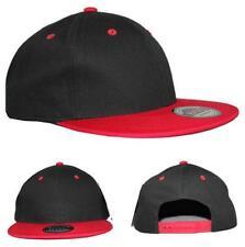 100% Algodón Plana Pico dos tono Snapback Gorra de béisbol Negro/rojo
