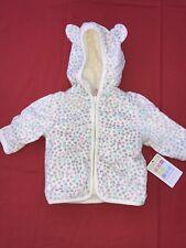 Healthtex Baby Girl Fleece Eared Faux Fur COAT gray Hearts Leopard ears 24m
