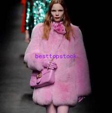Luxury Womens Long Warm Thick Pink Real Fox Fur Jacket Crewneck Loose Parka Coat