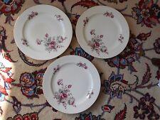 RS Prussia Germany, Three (3) DINNER PLATES, Burgundy/Gray Roses, Gilt Trim!