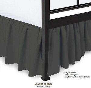 100%Microfiber Ruffle Bed Skirt Split Corner dark Grey solid Queen/King All Size
