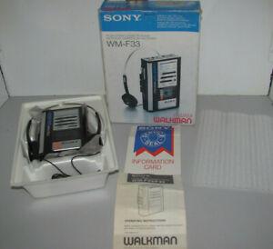 Vintage Sony Fm-Am Stereo Cassette Walkman Model WM-F33 In Box Tested & Working