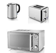 Swan Polished SS Set - 20 L Digital Microwave, 2 Slice Toaster & 1.7L Jug Kettle