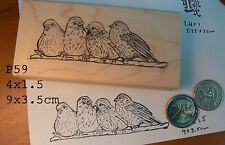 P59 Chattering birds on branch rubber stamp WM