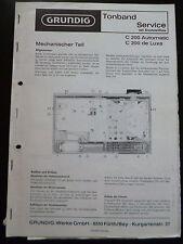 Original Grundig Tonbandgeräte Service C 200 Automatic C 200 de Luxe