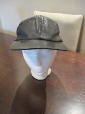 Black Lambskin Leather Snapback Hat Baseball Cap Adjustable Strap