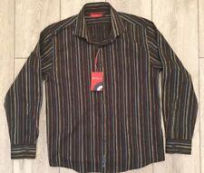 Ben Sherman Large Boys Long Sleeve Shirt Black Multi Coloured Stripes