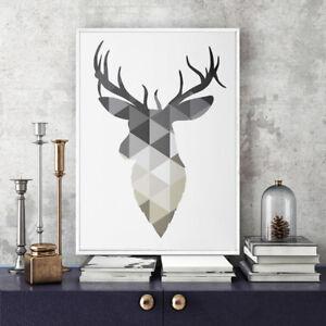 Scandinavian Print - Geometric Deer Animal Canvas Wall Art Home Decor - Unframed
