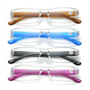 Mens Womens Transparent Lightweight Reading Glasses Rimless Readers 1.0~4.0 E628