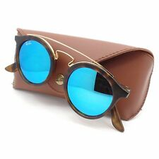 Ray Ban 4256 6092/55 46mm Matte Havana Gold Blue Mirror New Authentic Sunglasses