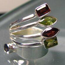 925 silver beautiful curled cut garnet, iolite & garnet ring UK O/US 7.25