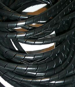 SPIRAL WRAP CABLE TIDY BLACK  VARIOUS LENGTHS & DIAMETERS