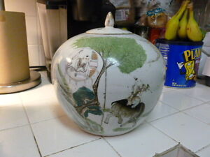 ANTIQUE SIGNED FAT CHINESE QING DYNASTY GINGER JAR