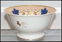 Antique Hand Painted Old English Coalport Porcelain Bowl w Blue Leaf