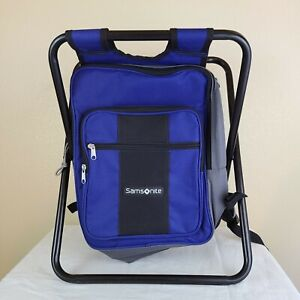 Samsonite Folding Chair Insulated Cooler Bag Backpack Fishing Camping Blue EUC