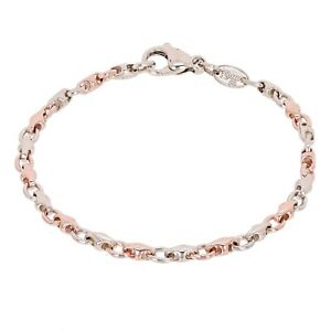 """14k Rose & White Gold Handmade Fashion Link Bracelet 7.5"""" 4mm 9.6 grams"""