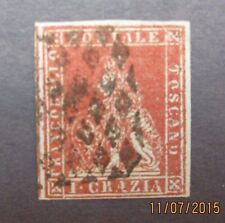 italy18,italy stamp,Tuscany Scott 4, F-VF used, 4 nice margins, Cat. $180.00