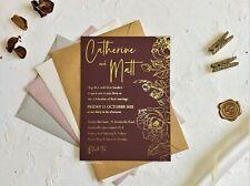 Wedding INVITATION Birthday invitations SAMPLE card christening invites gold