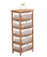Shabby Chic Chest of Drawers 5 Baskets Tall Cabinet Storage Unit Stand Bathroom