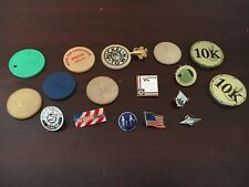 Wood And Plastic Nickel Token And Pin Lot Set