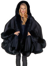 Womens Hooded Cashmere Cape with Detachable Hood and Real Fox Fur Trim Black
