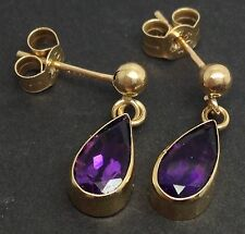 Solid 9ct Gold Amethyst pear Drop Earrings, New, Actual Ones, Birm Hallmarked.