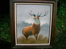 """Magnificent American painting of an Elk  SIGNED 31.5"""" BY  28"""""""