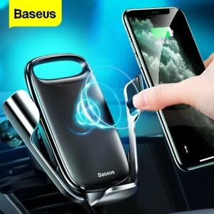 Baseus 15W Wireless Charger Car Air Vent Phone Holder Stand for iPhone 12 Pro