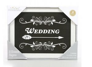 """Wedding Signs RUSTIC WEDDING Directional - 11.5"""" LoNg 3 PIECES"""