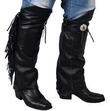 Motorcycle Biker Leather Leg Warmers Half Chaps With Fringe & Concho XL/2XL