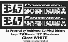 "Powered By Yoshimura Sticker 2x10"" White Vinyl Suzuka 8hr Suzuki GSX-R 1000"