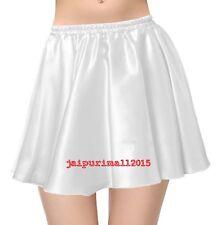 WHITE Satin Short Mini Skirt Belly Dance Club Pleated Retro High Waist Jupe