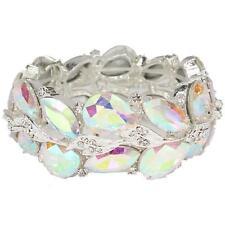 Elegant Bridal Formal Pageant Silver Ab Clear Crystal Bangle Fashion Bracelet
