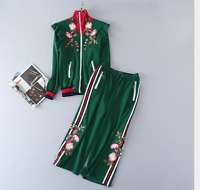 discount Stand collar Long sleeve Loose coat + Embroidery Casual pants Suit