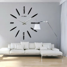 Modern DIY Large Wall Clock Kit 3d Mirror Surface Sticker Home Office Room Decor #5-black
