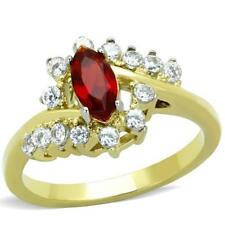 1569 RUBY SIAM DRESS MARQUISE SIMULATED DIAMOND RING STAINLESS STEEL GOLD WOMENS