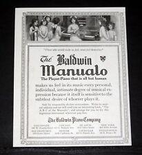 1916 OLD MAGAZINE PRINT AD, BALDWIN MANUALO, PLAYER PIANO THAT'S ALL BUT HUMAN!