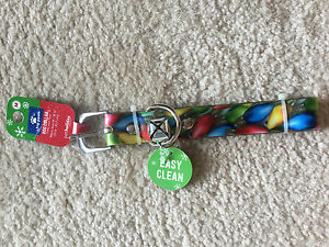NWOT Top Paw Dog Collar MEDIUM Christmas Holiday Lights EASY CLEAN