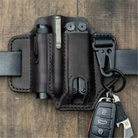 Tactical Portable Leather Belt Tool Pouch EDC Pouch for Flashlight Cut Pen Bag