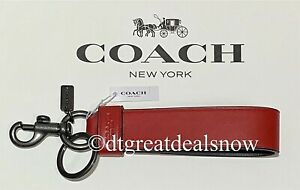 NEW COACH 79798 Loop Key Ring Smooth Leather Red