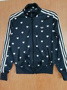 Adidas LogoTrefoil  Black And White Heart Print Womens Full Zip Hoodie Size 8/36
