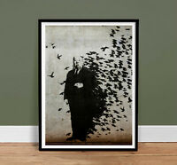 "FRAMED BANKSY HITCHCOCK THE BIRDS - Graffiti Street Art 18x24"" Poster Gift"