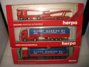 3 X HO SCALE HERPA MODELS SEMI TRUCKS & TRAILER + CAR TRANSPORTER NIJHOF COTRA