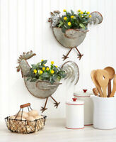 Galvanized Metal Wall Planters Indoor Outdoor Farmhouse - Rooster or Hen or Set