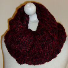 Red Black Wool Knitted Infinity Scarf Double Layer Cowl Snood Neck Warmer