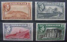 Gibraltar 1938-49  MH Perf. Variants Sc 108b, 110c, 113b, 114a  ($102.00 US)