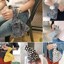 Japanese Style Wristlet Sea Wave Cotton Wrist Wrap Knot Key Phone Pouch Coin Bag